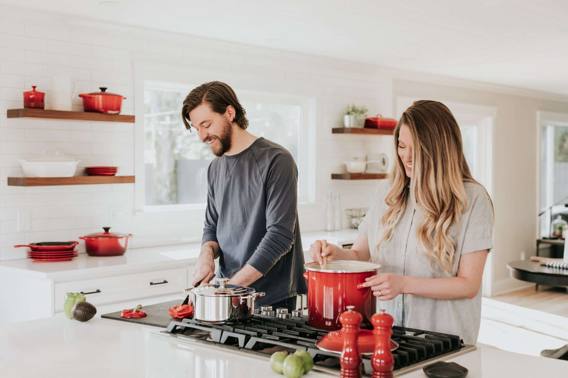 Young couple cooking in a kitchen